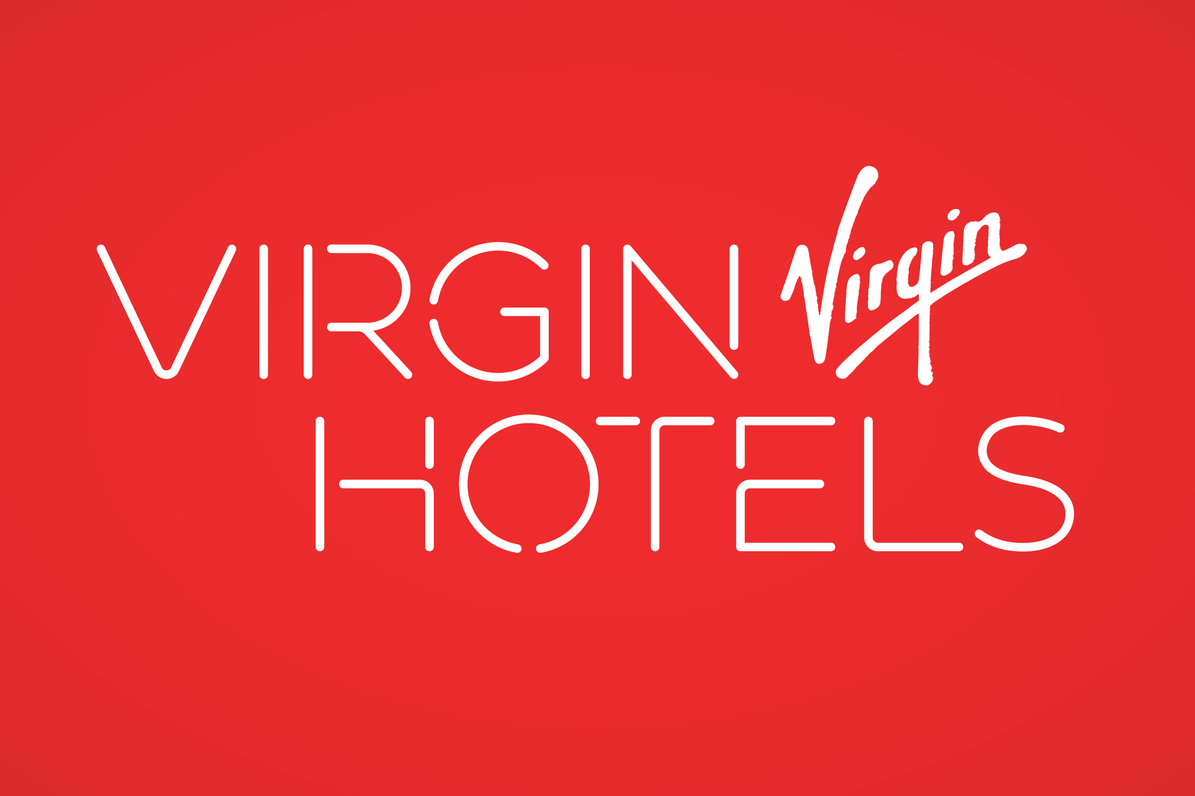 Logo for Virgin Hotels on red background